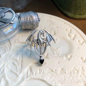Jewelry - Dragon Black Onyx Sterling Silver Ring Sz 9